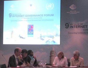 Lillian Nalwoga (third from left), Policy Officer at CIPESA makes a comment during a panel session at the 9th IGF in Istanbul, Turkey.