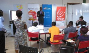 A team presents to the panel during the OpenNet Africa Tools Testing Challnge