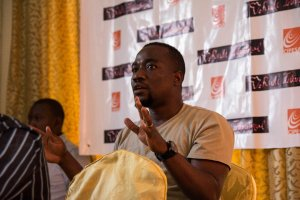 Online rights and technology enthusiast Eugène Buingo shares his concerns during the workshop.  Picture sourced from @eugenebuingo